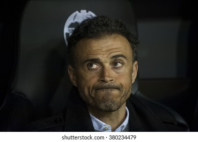 VALENCIA, SPAIN - FEBRUARY 10: Luis Enrique during Spanish Cup Semifinal match between Valencia C.F. and FC Barcelona at Mestalla Stadium on February 10, 2015 in Valencia, Spain