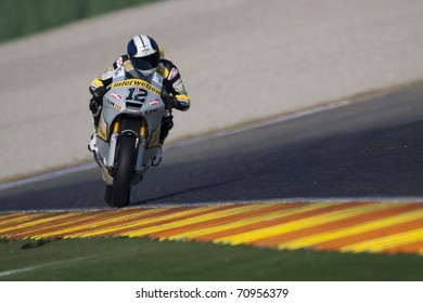 VALENCIA, SPAIN - FEBRUARY 10: Participant in the Moto2 and 125cc Test - Luthi - on February 10, 2011 in Cheste, Valencia, Spain
