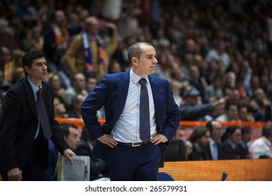VALENCIA, SPAIN - FEBRUARY 15: Carles Duran during ENDESA LEAGUE match between Valencia Basket Club and Real Madrid Basket at Fonteta Stadium on February 15, 2015 in Valencia, Spain