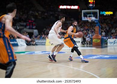 VALENCIA, SPAIN - FEBRUARY 15: Dubljevic with ball during Spanish League match between Valencia Basket Club and Real Madrid at Fonteta Stadium on February 15, 2015 in Valencia, Spain