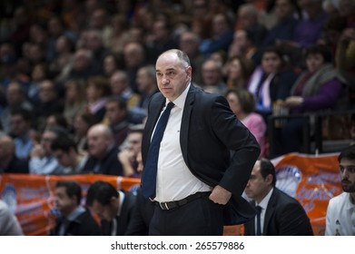 VALENCIA, SPAIN - FEBRUARY 15: Pablo Laso during ENDESA LEAGUE match between Valencia Basket Club and Real Madrid Basket at Fonteta Stadium on February 15, 2015 in Valencia, Spain
