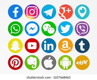 Valencia, Spain - February 16, 2020: Collection of popular social media logos printed on paper: Facebook, Instagram,Telegram,Google Plus, Periscope,WhatsApp,Messenger,  WeChat,Twitter,Viber, Snapchat.