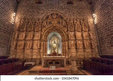 VALENCIA, SPAIN - FEBRUARY 18, 2018: Chapel of the Holy Chalice in Saint Mary Cathedral