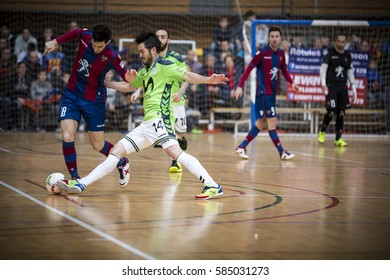 VALENCIA, SPAIN - FEBRUARY 19: (L) Tripodi during Spanish league match between Levante UD FS and Movistar Inter at Cabanyal Stadium on February 19, 2017 in Valencia, Spain