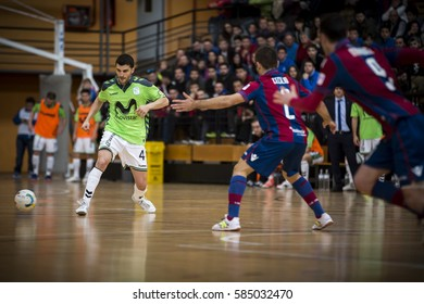 VALENCIA, SPAIN - FEBRUARY 19: Lolo with ball during Spanish league match between Levante UD FS and Movistar Inter at Cabanyal Stadium on February 19, 2017 in Valencia, Spain