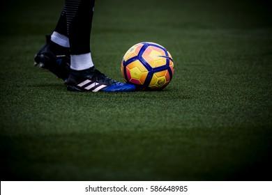 VALENCIA, SPAIN - FEBRUARY 19: Official ball during La Liga soccer match between Valencia CF and CD Athletic Club Bilbao at Mestalla Stadium on February 19, 2017 in Valencia, Spain