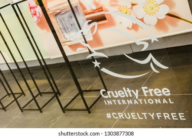 Valencia, Spain - February 2, 2019: Cruelty Free logo on the escaparete of a fashion clothing store.