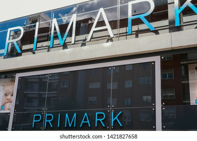 Valencia, Spain - February 2, 2019: Facade of the first Primark low cost fashion clothing store in Valencia.