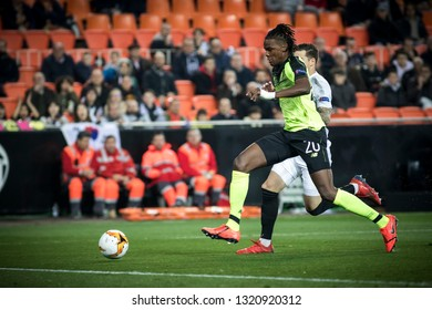 VALENCIA, SPAIN - FEBRUARY 21: (20) Boyata during UEFA Europa League match between Valencia CF and Celtic FC at Mestalla Stadium on February 21, 2019 in Valencia, Spain