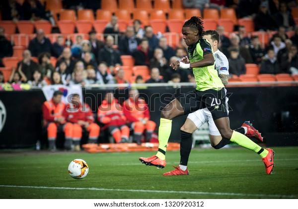 VALENCIA, SPAIN - FEBRUARY 21: (20) Boyata during UEFA Europa League match between Valencia CF and Celtic FC at Mestalla Stadium on February 21, 2019 in Valencia, Spain
