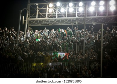 VALENCIA, SPAIN - FEBRUARY 21: Celtic supporters during UEFA Europa League match between Valencia CF and Celtic FC at Mestalla Stadium on February 21, 2019 in Valencia, Spain