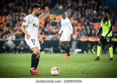 VALENCIA, SPAIN - FEBRUARY 21: Coquelin with ball during UEFA Europa League match between Valencia CF and Celtic FC at Mestalla Stadium on February 21, 2019 in Valencia, Spain