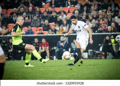 VALENCIA, SPAIN - FEBRUARY 21: Guedes with ball during UEFA Europa League match between Valencia CF and Celtic FC at Mestalla Stadium on February 21, 2019 in Valencia, Spain