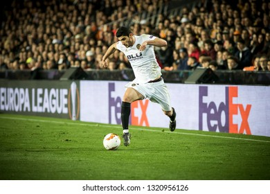 VALENCIA, SPAIN - FEBRUARY 21: Guedes during UEFA Europa League match between Valencia CF and Celtic FC at Mestalla Stadium on February 21, 2019 in Valencia, Spain