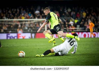 VALENCIA, SPAIN - FEBRUARY 21: Hayes with ball during UEFA Europa League match between Valencia CF and Celtic FC at Mestalla Stadium on February 21, 2019 in Valencia, Spain