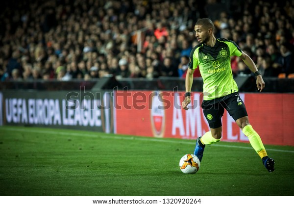 VALENCIA, SPAIN - FEBRUARY 21: Jeremy Toljan during UEFA Europa League match between Valencia CF and Celtic FC at Mestalla Stadium on February 21, 2019 in Valencia, Spain