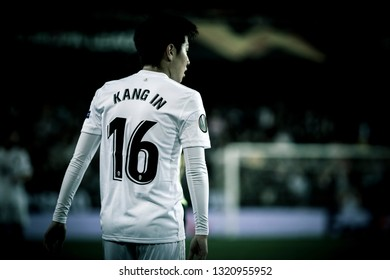 VALENCIA, SPAIN - FEBRUARY 21: Kangin Lee during UEFA Europa League match between Valencia CF and Celtic FC at Mestalla Stadium on February 21, 2019 in Valencia, Spain