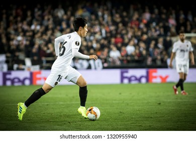 VALENCIA, SPAIN - FEBRUARY 21: Lee with ball during UEFA Europa League match between Valencia CF and Celtic FC at Mestalla Stadium on February 21, 2019 in Valencia, Spain