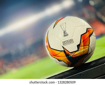 VALENCIA, SPAIN - FEBRUARY 21: official ball during UEFA Europa League match between Valencia CF and Celtic FC at Mestalla Stadium on February 21, 2019 in Valencia, Spain