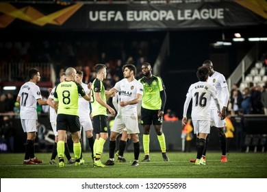 VALENCIA, SPAIN - FEBRUARY 21: Players at the end of the match during UEFA Europa League match between Valencia CF and Celtic FC at Mestalla Stadium on February 21, 2019 in Valencia, Spain