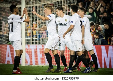 VALENCIA, SPAIN - FEBRUARY 21: Valencia players celebrating goal during UEFA Europa League match between Valencia CF and Celtic FC at Mestalla Stadium on February 21, 2019 in Valencia, Spain