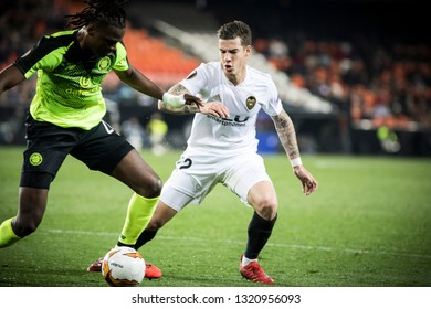 VALENCIA, SPAIN - FEBRUARY 21: (R) Santi Mina during UEFA Europa League match between Valencia CF and Celtic FC at Mestalla Stadium on February 21, 2019 in Valencia, Spain