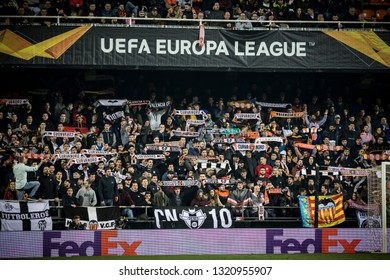 VALENCIA, SPAIN - FEBRUARY 21: Valencia supporters during UEFA Europa League match between Valencia CF and Celtic FC at Mestalla Stadium on February 21, 2019 in Valencia, Spain