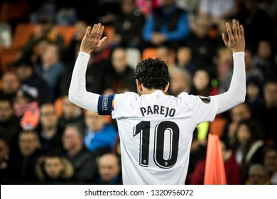 VALENCIA, SPAIN - FEBRUARY 21:Dani Parejo during UEFA Europa League match between Valencia CF and Celtic FC at Mestalla Stadium on February 21, 2019 in Valencia, Spain