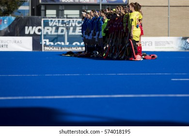 VALENCIA, SPAIN - FEBRUARY 5: All players during Hockey World League Round 2 match between Spain and Czech Republic at Betero Stadium on February 5, 2017 in Valencia, Spain