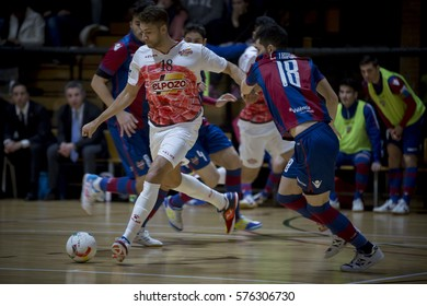 VALENCIA, SPAIN - FEBRUARY 7: Pito with ball during Spanish King Cup match between Levante UD FS and Elpozo Murcia at Cabanyal Stadium on February 8, 2017 in Valencia, Spain