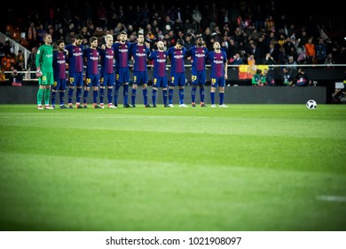 VALENCIA, SPAIN - FEBRUARY 8: Barcelona players during Spanish King Cup match between Valencia CF and FC Barcelona at Mestalla Stadium on February 8, 2018 in Valencia, Spain