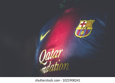VALENCIA, SPAIN - FEBRUARY 8: Barcelona shield during Spanish King Cup match between Valencia CF and FC Barcelona at Mestalla Stadium on February 8, 2018 in Valencia, Spain