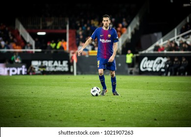 VALENCIA, SPAIN - FEBRUARY 8: Busquets during Spanish King Cup match between Valencia CF and FC Barcelona at Mestalla Stadium on February 8, 2018 in Valencia, Spain