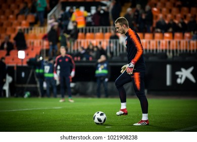 VALENCIA, SPAIN - FEBRUARY 8: Cillessen during Spanish King Cup match between Valencia CF and FC Barcelona at Mestalla Stadium on February 8, 2018 in Valencia, Spain