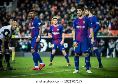 VALENCIA, SPAIN - FEBRUARY 8: during Spanish King Cup match between Valencia CF and FC Barcelona at Mestalla Stadium on February 8, 2018 in Valencia, Spain