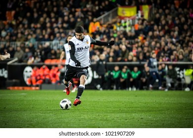 VALENCIA, SPAIN - FEBRUARY 8: Guedes during Spanish King Cup match between Valencia CF and FC Barcelona at Mestalla Stadium on February 8, 2018 in Valencia, Spain