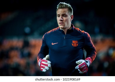 VALENCIA, SPAIN - FEBRUARY 8: Marc Ter Stegen during Spanish King Cup match between Valencia CF and FC Barcelona at Mestalla Stadium on February 8, 2018 in Valencia, Spain