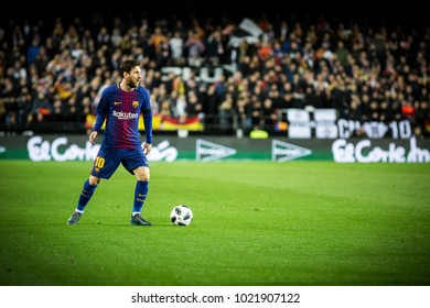 VALENCIA, SPAIN - FEBRUARY 8: Messi during Spanish King Cup match between Valencia CF and FC Barcelona at Mestalla Stadium on February 8, 2018 in Valencia, Spain
