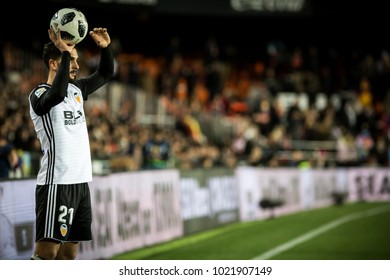 VALENCIA, SPAIN - FEBRUARY 8: Montoya during Spanish King Cup match between Valencia CF and FC Barcelona at Mestalla Stadium on February 8, 2018 in Valencia, Spain