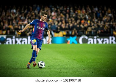 VALENCIA, SPAIN - FEBRUARY 8: Sergi Roberto during Spanish King Cup match between Valencia CF and FC Barcelona at Mestalla Stadium on February 8, 2018 in Valencia, Spain