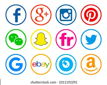 Valencia, Spain - January 10, 2018: Collection of popular social media logos printed on paper: Facebook,  Twitter, Instagram, Pinterest, Snapchat, Ebay, WeChat, Flickr, Google, Amazon, Livejournal.