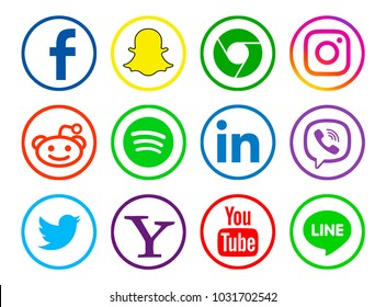 Valencia, Spain - January 10, 2018: Collection of popular social media logos printed on paper: Facebook,  Twitter, Instagram, Chrome, Snapchat, LinkedIn, Viber, YouTube, Line, Spotify,Yahoo.