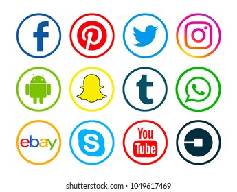 Valencia, Spain - January 10, 2018: Collection of popular social media logos printed on paper: Facebook, Android, Twitter, Uber,Tumblr, Instagram, YouTube, Pinterest, WhatsApp, Snapchat, Ebay, Skype.