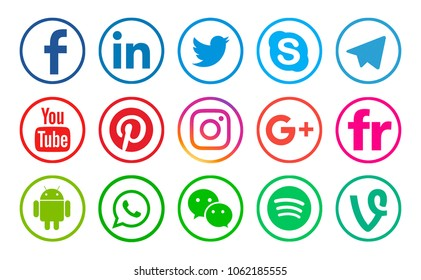 Valencia, Spain - January 10, 2018: Collection of popular social media logos printed on paper: Facebook, LinkedIn, Twitter, Skype, YouTube, Pinterest, Instagram, Android, WhatsApp, WeChat, Spotify.