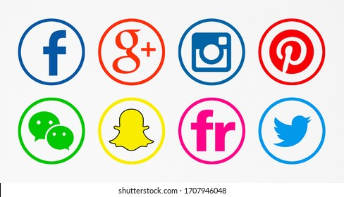 Valencia, Spain - January 10, 2018: Collection of popular social media logos printed on paper: Facebook,  Twitter, Instagram, Pinterest, Snapchat, WeChat, Flickr,  Google Plus.