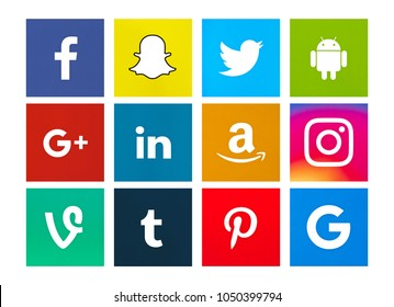 Valencia, Spain - January 11, 2017: Collection of popular social media logos printed on paper: Facebook, Snapchat, Twitter, Android, Pinterest, Instagram, Google Plus, LinkedIn, Vine, Amazon, Tumblr.