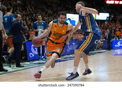 VALENCIA, SPAIN - JANUARY 24: Martinez with ball during Spanish League match between Valencia Basket Club and UCAM Murcia at Fonteta Stadium on January 24, 2015 in Valencia, Spain