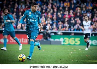 VALENCIA, SPAIN - JANUARY 27: Casemiro during Spanish La Liga match between Valencia CF and Real Madrid at Mestalla Stadium on January 27, 2018 in Valencia, Spain