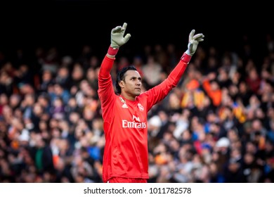 VALENCIA, SPAIN - JANUARY 27: Keylor Navas during Spanish La Liga match between Valencia CF and Real Madrid at Mestalla Stadium on January 27, 2018 in Valencia, Spain