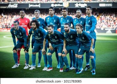 VALENCIA, SPAIN - JANUARY 27: Real Madrid players during Spanish La Liga match between Valencia CF and Real Madrid at Mestalla Stadium on January 27, 2018 in Valencia, Spain
